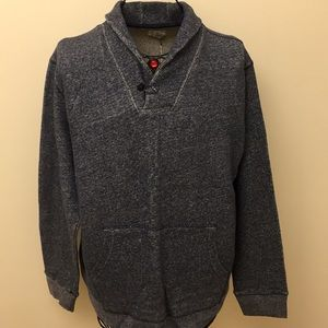 Blue Gray French Terry Shawl Pullover Sweater XXL?